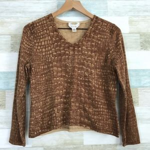 Snakeskin Cashmere Sweater Brown Talbots